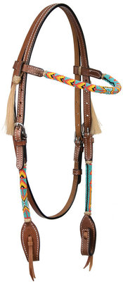 Cody Pro Native American Beaded Browband Headstall, Turquoise