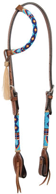 Cody Pro Native American Beaded One Ear Headstall, Royal Blue
