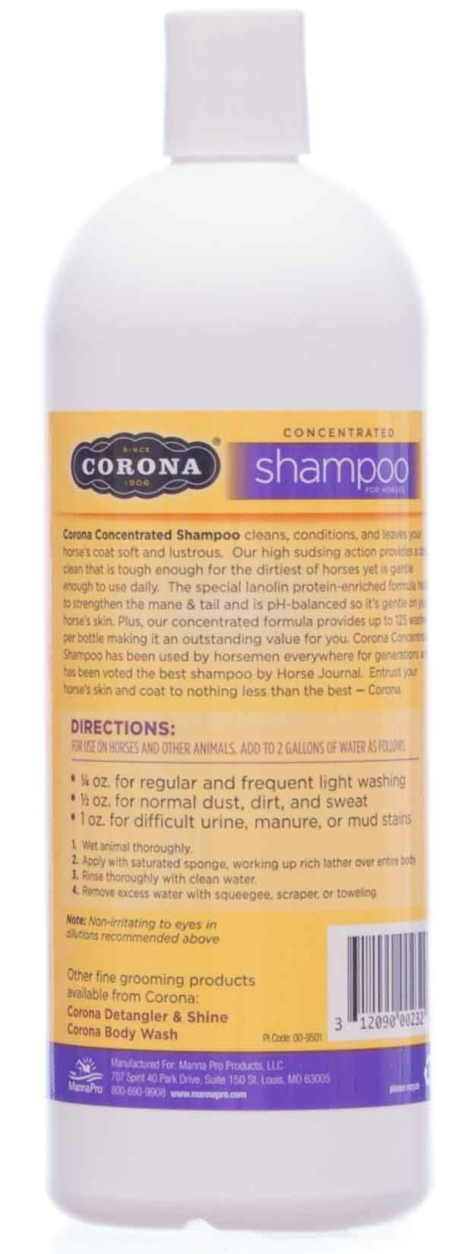 Corona Horse Shampoo for Cleaning, Degreasing, Conditioning, and Oil
