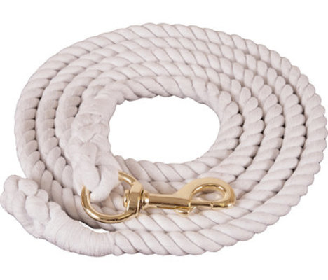 White Cotton Lead Rope w/ brass-plated bolt snap