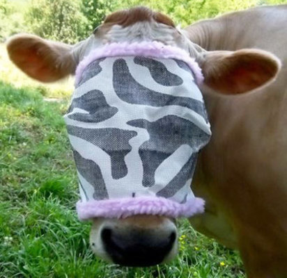 Zebra Cow Fly Mask