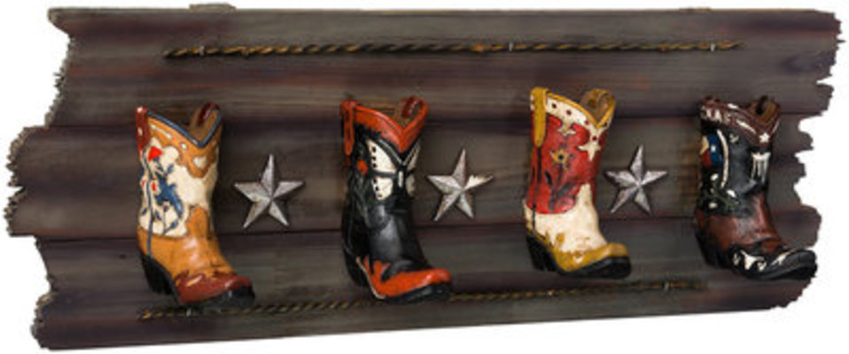 Cowboy Boots Four Hook Rack