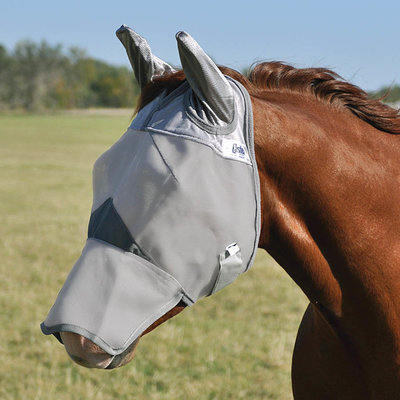 Crusader Long Fly Mask w/ Ears, Gray