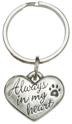 """Always In My Heart"" Dog Paw Keychain"