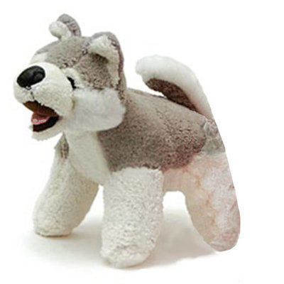 Plush Dog Squeaky Toy, Gray/White
