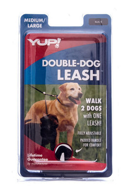 "Double Dog Leash, 16"" handle (black only)"