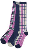 Dublin Cube Check Boot Socks, 3 Pack