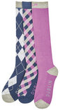 Dublin Diamond Print Book Socks, 3 Pack
