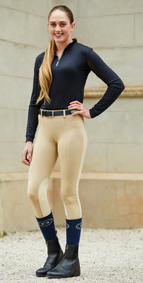 Dublin Performance Flex Knee Patch Riding Tights, Beige