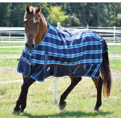 Jeffers 1200D Economy Plus Horse Turnout Blanket, Blue Plaid 240g