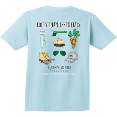 """Equestrian Essentials"" Pocket Tee, Chambray"