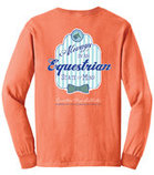"""Equestrian State of Mind"" Longsleeve Tee, Bright Salmon"