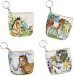 Equestrian Zippered Coin Purse Keychain