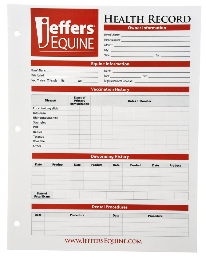 Horse health records jeffers pet for Pet health record template