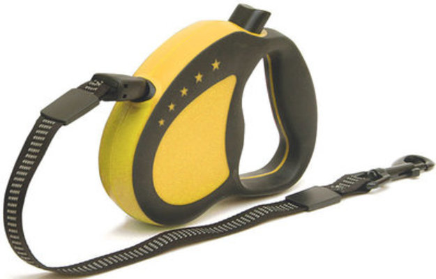 EZ Grip Retractable Leash, Yellow, Medium