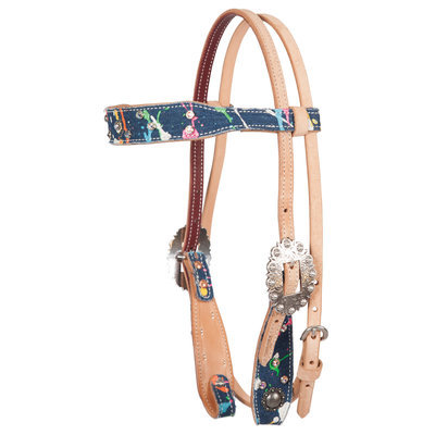 Fallon Taylor Paint Splatter Denim Browband Headstall