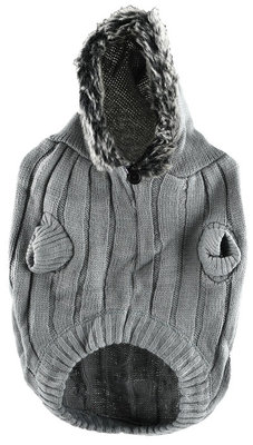 Medium Faux Fur Hooded Sweater, Gray