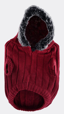 Large Faux Fur Hooded Sweater, Merlot