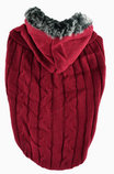Faux Fur Hooded Sweater, Merlot
