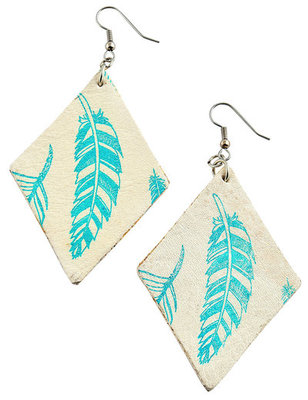 Feather Print Diamond Earrings