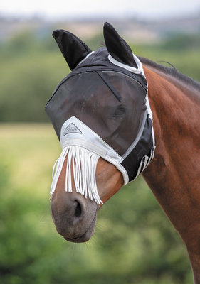 Shires Fly Mask with Nose Fringe