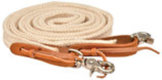 Flat Braided 8' Poly Roping Rein, Natural