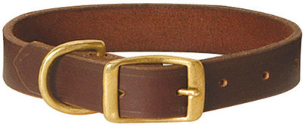 "15"" Flat Leather Collar, 3/4"" W"