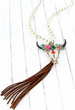 Floral Steer Head Tassel Necklace, Multi