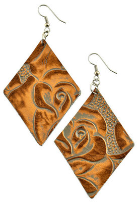Floral Tooled Diamond Earrings