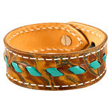 Buckstitch Bracelet, Floral Tooled & Turquoise
