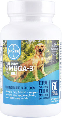Free Form Omega-3 Fish Oil Capsules, Med & Large Dogs