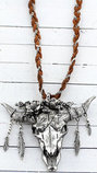 Free Spirit Steer Braided Necklace, Silver