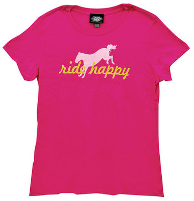"Genuine Ranch ""Ride Happy"" Tee, Fuchsia"