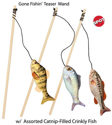 Gone Fishin' Cat Teaser Wand Cat Toy, Assorted