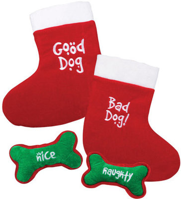 Good Dog/Bad Dog Stocking with Naughty/Nice Bone