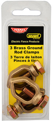 Brass Ground Rod Clamps, 3 pack