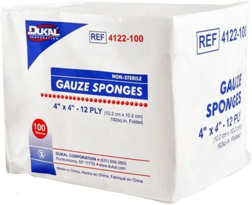 "12 ply 4"" x 4"" Gauze Sponges, box of 100"