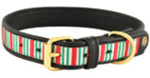 HALO Christmas Stripes Embroidered Leather Dog Collar