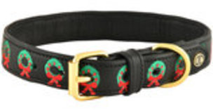 HALO Christmas Wreath Embroidered Leather Dog Collar