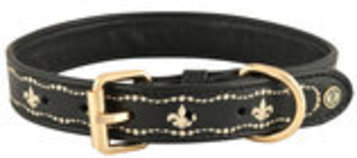 HALO Fleur de Lis Embroidered Leather Dog Collar