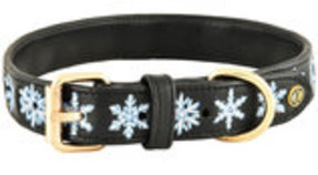 HALO Snowflake Embroidered Leather Dog Collar
