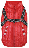 Fleece-Lined Puffy Parka Dog Jacket w/ Built-In Harness