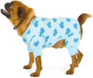 Blue Heart Fleece Dog Pajamas