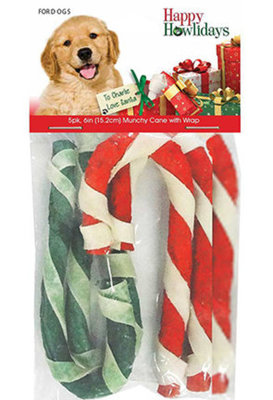 """Holiday Beefhide Munchy Canes, 5-pack, approx. 6"""""""