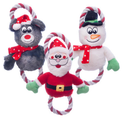 Holiday Plush & Rope Toy, 3 pack