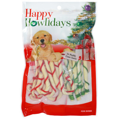 Holiday Rawhide Candy Canes, 18 ct