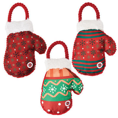 Holiday Snowflake Mitten Dog Toy, Assorted