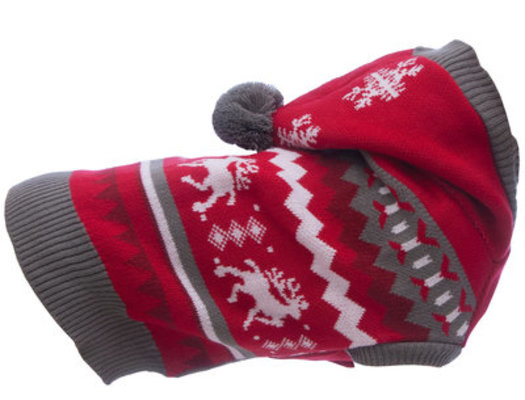 X-Large Christmas Dog Sweater with Hood