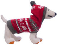 Christmas Dog Sweater with Hood, Red