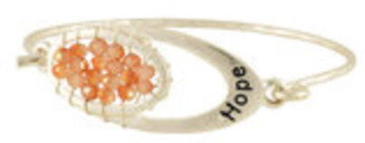 """Hope"" Bracelet in Silver-tone with Light Peach Beads"